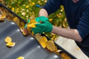 Cleaning Leaves From the Gutter